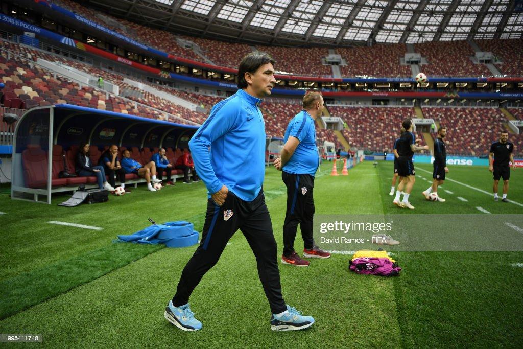 Zlatko Dalic, Head coach of Croatia looks on during the Croatia Training Session at the Luzhniki Stadium on July 10, 2018 in Moscow, Russia.