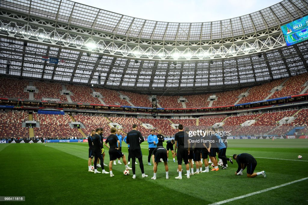 Zlatko Dalic, Head coach of Croatia speaks to players during the Croatia Training Session at the Luzhniki Stadium on July 10, 2018 in Moscow, Russia.