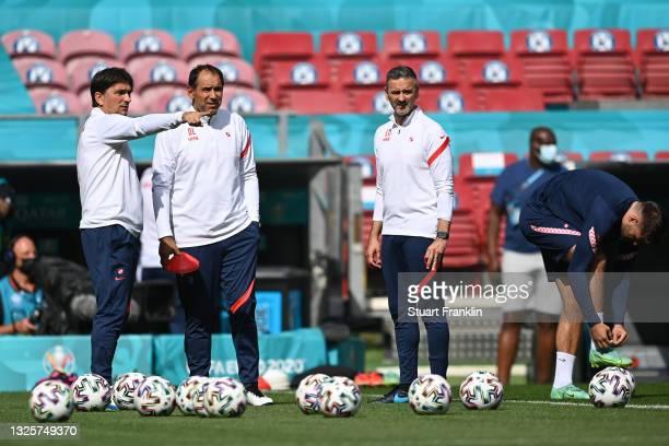 Zlatko Dalic , Head Coach of Croatia speaks with Drazen Ladic, Assistant Coach of Croatia during the Croatia Training Session ahead of the UEFA Euro...