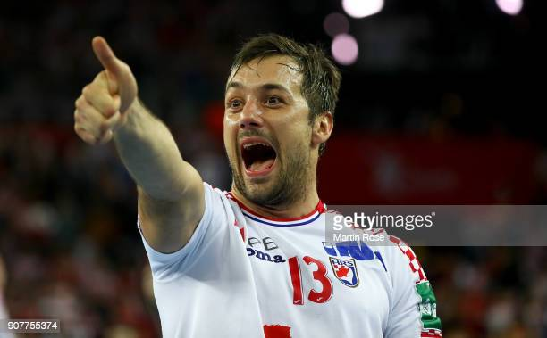 Zlatko Horvat of Croatia celebrates victory after the Men's Handball European Championship main round match between Croatia and Norway at Arena...