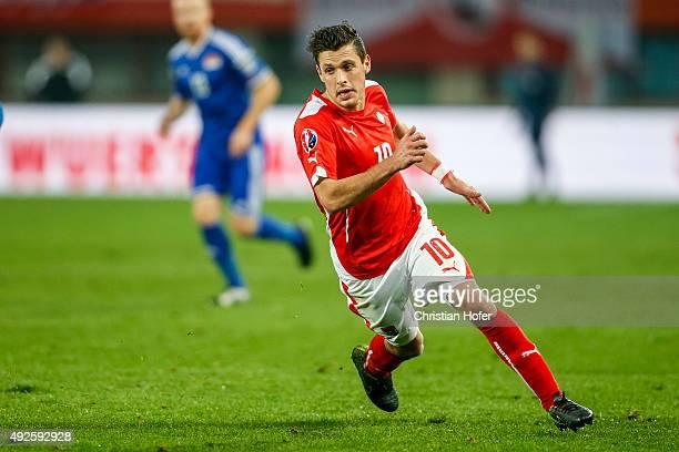 Zlatko Junuzovic of Austria in action during the UEFA EURO 2016 Qualifier between Austria and Liechtenstein at Ernst Happel Stadion on October 12...