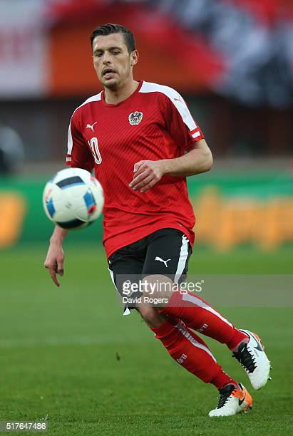 Zlatko Junuzovic of Austria looks on during the international friendly match between Austria and Albania at the ErnstHappelStadion on March 26 2016...