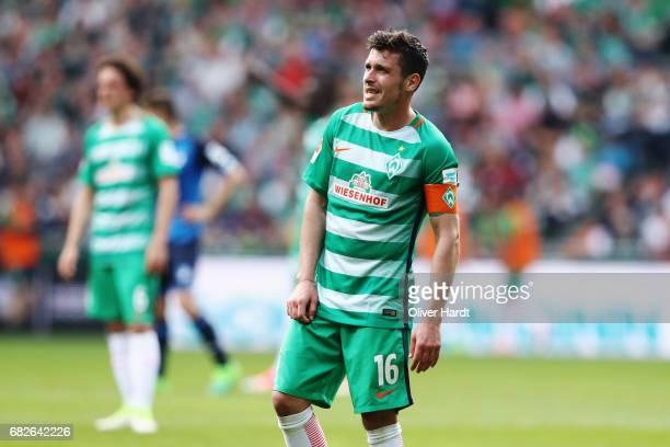 Zlatko Junuzovic of Bremen appears frustrated during the Bundesliga match between Werder Bremen and TSG 1899 Hoffenheim at Weserstadion on May 13...