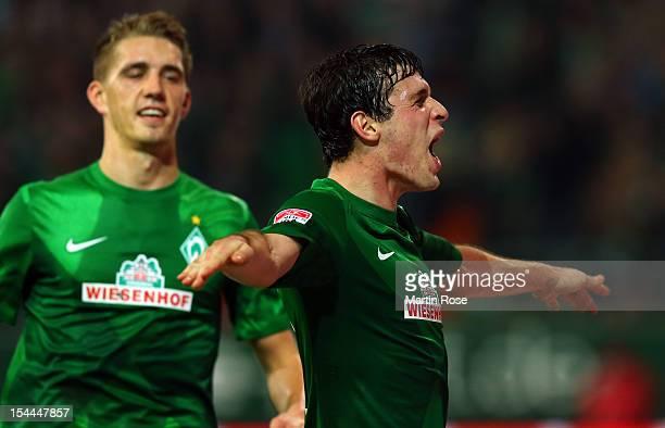 Zlatko Junuzovic of Bremen celebrates after he scores his team's 4th goal during the Bundesliga match between Werder Bremen and Borussia...