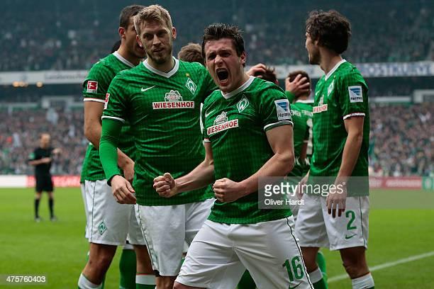 Zlatko Junuzovic of Bremen celebrates after scoring their first goalduring the Bundesliga match between Werder Bremen and Hamburger SV at...