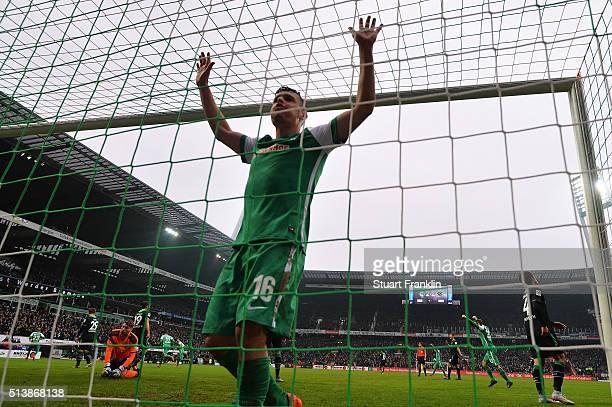 Zlatko Junuzovic of Bremen celebrates scoring the fourth goal during the Bundesliga match between Werder Bremen and Hannover 96 at Weserstadion on...