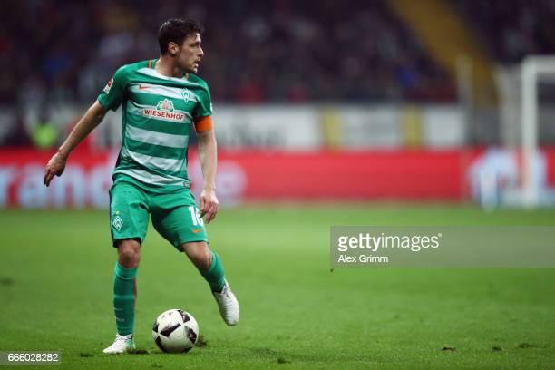 Zlatko Junuzovic of Bremen controles the ball during the Bundesliga match between Eintracht Frankfurt and Werder Bremen at CommerzbankArena on April...