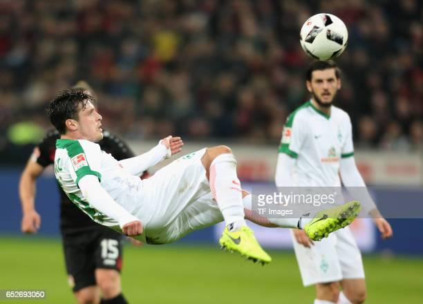 Zlatko Junuzovic of Bremen controls the ball during the Bundesliga soccer match between Bayer Leverkusen and Werder Bremen at the BayArena stadium in...