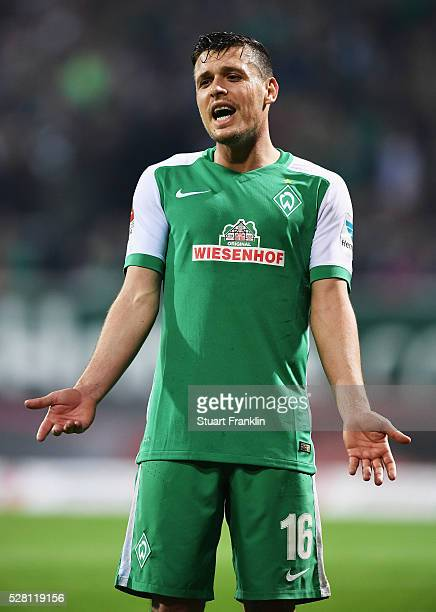 Zlatko Junuzovic of Bremen gestures during the Bundesliga match between Werder Bremen and VfB Stuttgart at the Weser stadium on May 02 2016 in Bremen...
