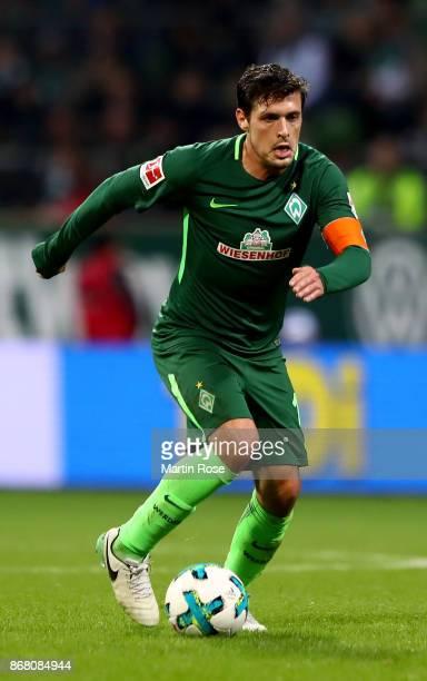 Zlatko Junuzovic of Bremen runs with the ball during the Bundesliga match between SV Werder Bremen and FC Augsburg at Weserstadion on October 29 2017...