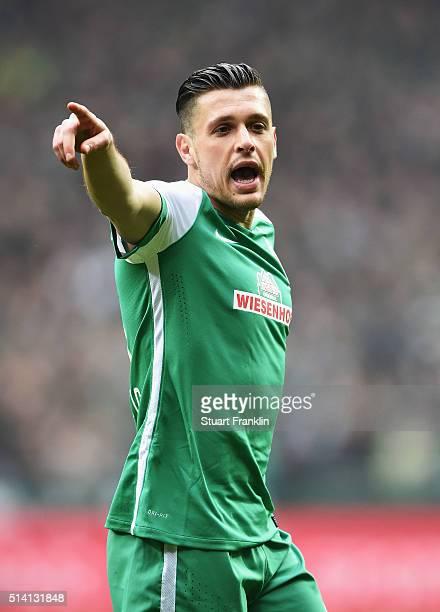 Zlatko Junuzovic of Bremen shouts during the Bundesliga match between Werder Bremen and Hannover 96 at Weserstadion on March 5 2016 in Bremen Germany