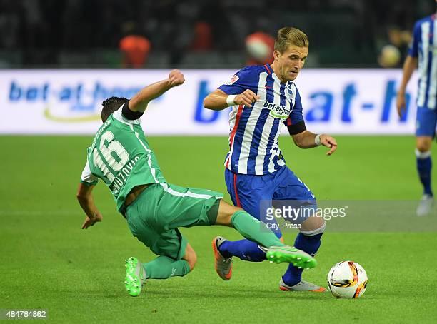 Zlatko Junuzovic of Werder Bremen and Peter Pekarik of Hertha BSC during the game between Hertha BSC and Werder Bremen on August 21 2015 in Berlin...