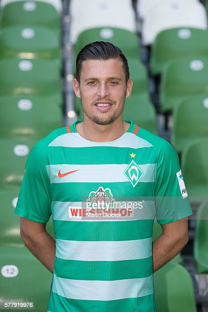 Zlatko Junuzovic poses during the offical team presentation of Werder Bremen on July 20 2016 in Bremen Germany