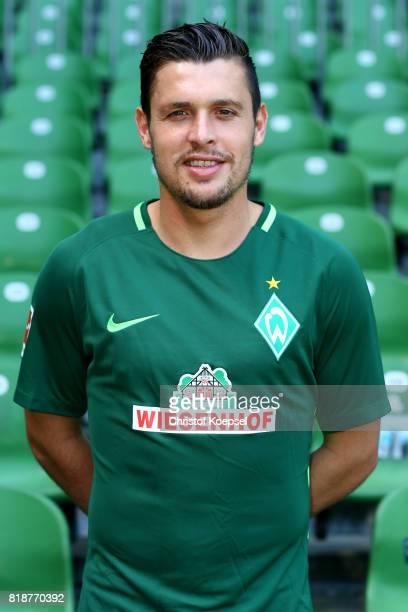 Zlatko Junzzovic of Werder Bremen poses during the team presentation at Weser Stadium on July 19 2017 in Bremen Germany