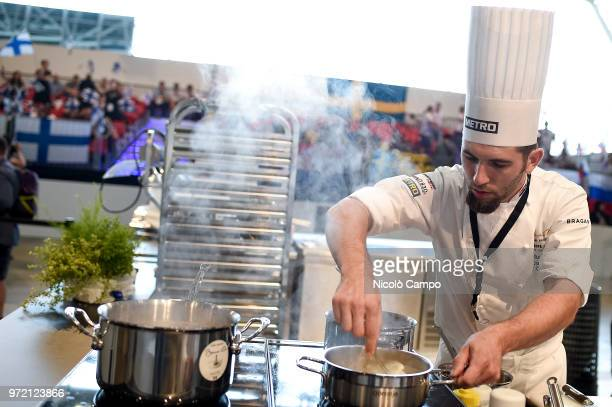 Zlatko Novak of Croatia cooks during the Europe 2018 Bocuse d'Or International culinary competition Best ten teams will access to the world final in...