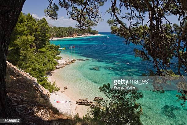 zlatni rat beach, bol, brac island, dalmatia, croatia, adriatic sea, mediterranean, europe - zlatni rat fotografías e imágenes de stock
