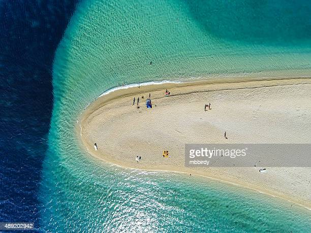 zlatni rat beach, bol, brac island, dalmatia, croatia - hvar stock photos and pictures