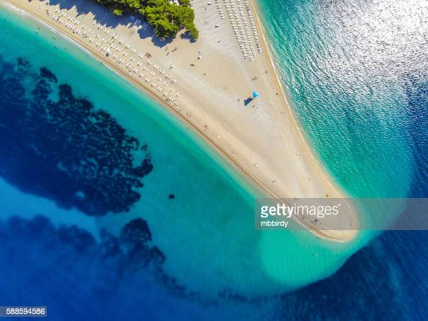 zlatni rat beach, bol, brac island, dalmatia, croatia - croatia stock pictures, royalty-free photos & images