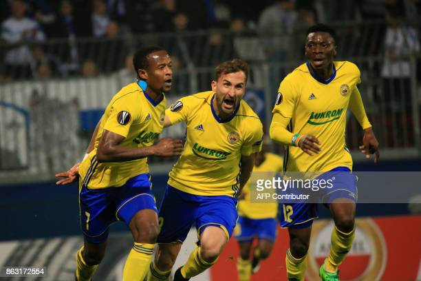 Zlin's Dame FC Fastav Zlín's forward from Senegal Dame Diop celebrates scoring the opening goal with his teammates during the UEFA Europa League...