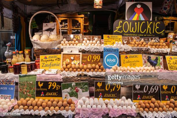 Zloty price signs on an egg and farm produce stall at Hala Mirowska market in Warsaw, Poland, on Tuesday, April 6, 2021. Poland's Central Banks...