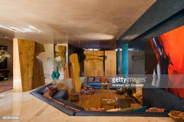 zniber house in morocco built by jean-francois zevaco - sunken stock pictures, royalty-free photos & images
