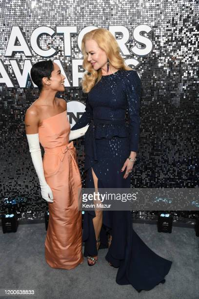 Zoë Kravitz and Nicole Kidman attend the 26th Annual Screen Actors Guild Awards at The Shrine Auditorium on January 19 2020 in Los Angeles California...