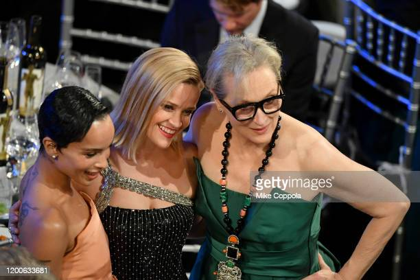 Zoë Kravitz Reese Witherspoon and Meryl Streep attend the 26th Annual Screen ActorsGuild Awards at The Shrine Auditorium on January 19 2020 in Los...