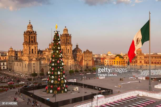 zocalo square in mexico city - mexican christmas stock photos and pictures