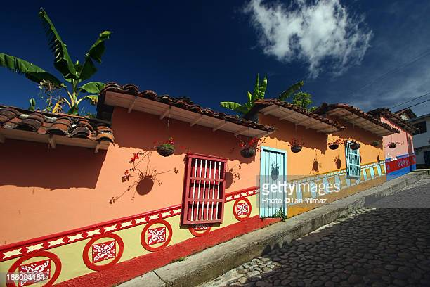 zocalos of guatape - guatapé stock pictures, royalty-free photos & images