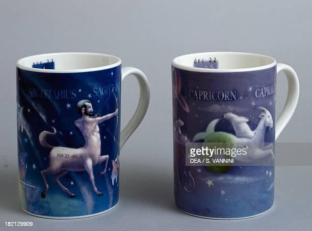 Zodiac mugs Sagittarius and Capricornus Rob Scotton series ceramic Portmeirion Potteries manufacture StokeonTrent England 20th century