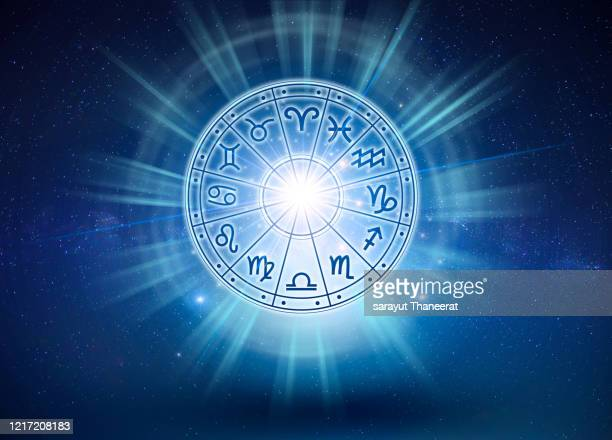 zodiac signs inside of horoscope circle. astrology in the sky with many stars and moons  astrology and horoscopes concept - astrology stock pictures, royalty-free photos & images