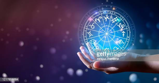 zodiac signs inside of horoscope circle. astrology in the sky with many stars and moons  astrology and horoscopes concept - wheel stock pictures, royalty-free photos & images