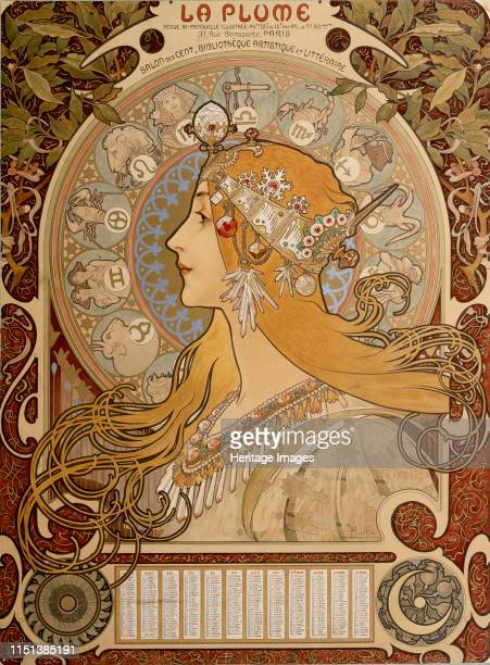 Zodiacal calendar 1897 Found in the collection of the State A Pushkin Museum of Fine Arts Moscow Artist Alphonse Mucha