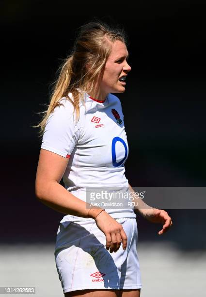 Zoe Aldcroft of England looks on during the Women's Six Nations match between England and France at The Stoop on April 24, 2021 in London, England....