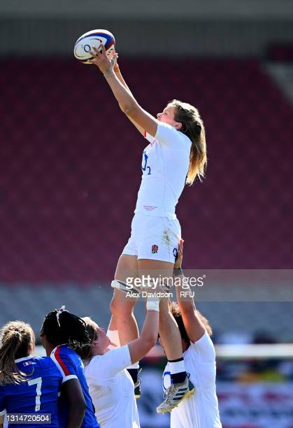Zoe Aldcroft of England wins the ball in the lineout during the Women's Six Nations match between England and France at The Stoop on April 24, 2021...