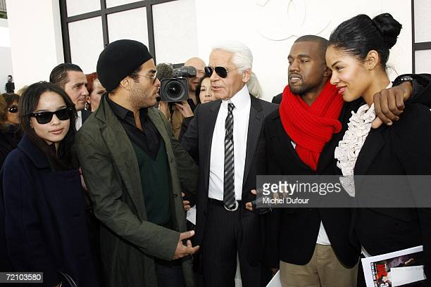 Zoe and Lenny Kravitz Karl Lagerfeld Kanye West and his wife attend the Chanel Fashion Show as part of Paris Fashion Week Spring/Summer 2007 on...