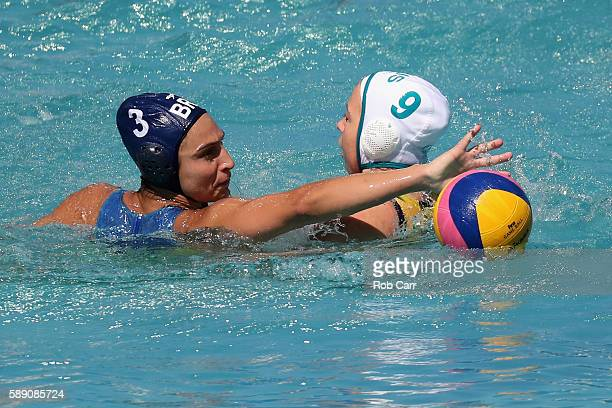 Zoe Arancini of Australia and Marina Zablith of Brazil go after the ball during the Womens Preliminaries on Day 8 of the Rio 2016 Olympic Games on...