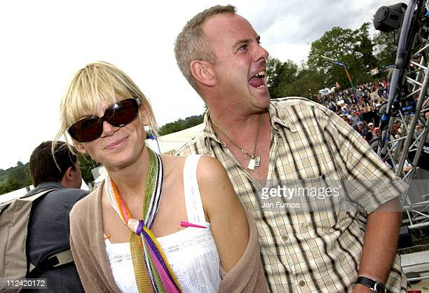 Zoe Ball and husband Norman Cook aka Fatboy Slim during 2002 Glastonbury Music Festival June 2830 2002 at Worthy Farm in Pilton Somerset Great Britain