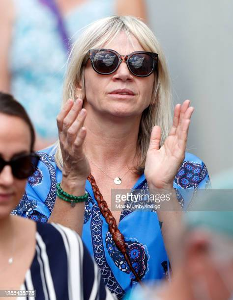 Zoe Ball applauds as Dame Vera Lynn's funeral cortege passes through her home village of Ditchling on route to her funeral on July 10, 2020 in...