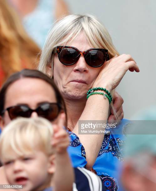 Zoe Ball watches as Dame Vera Lynn's funeral cortege passes through her home village of Ditchling on route to her funeral on July 10, 2020 in...