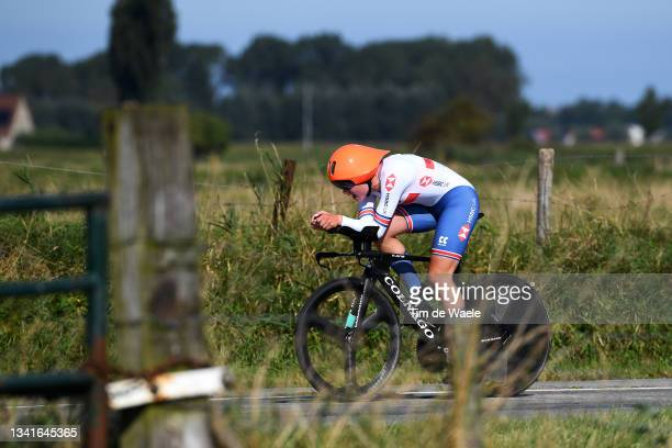 Zoe Bäckstedt of The United Kingdom sprints during the 94th UCI Road World Championships 2021 - Women Junior ITT a 19,3km Individual Time Trial race...