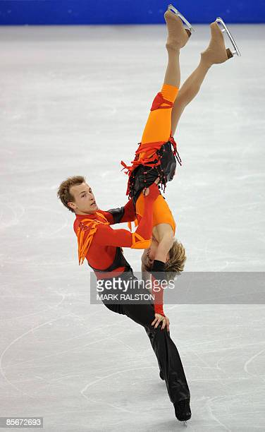Zoe Blanc and PierreLoup Bouquet from France perform during the Ice Dance Free Dance event of the 2009 World Figure skating Championships at the...