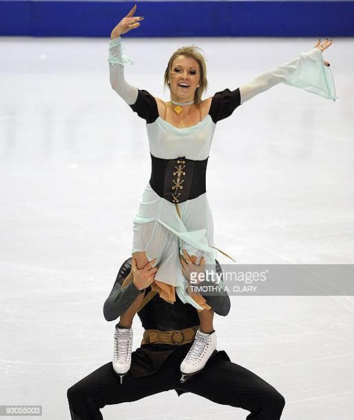 Zoe Blanc and PierreLoup Bouquet from France skate their Ice Dance Original dance Program November 14 2009 during Skate America the 2009 ISU Grand...