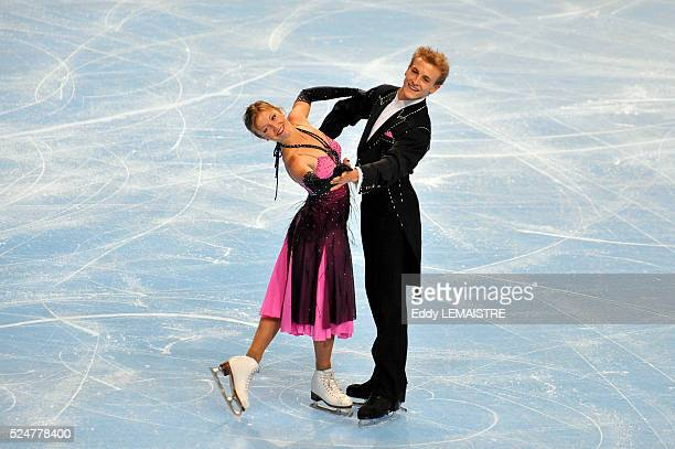 Zoe Blanc and PierreLoup Bouquet of France during the ice dance compulsory dance golden waltz event of the Eric Bompard Figure Skating trophy on...