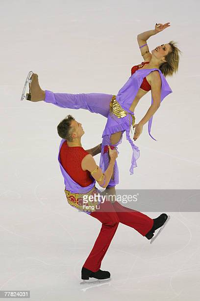Zoe Blanc and PierreLoup Bouquet of France skate in the Ice Dancing Original Dance during the Cup of China Figure Skating competition which is part...