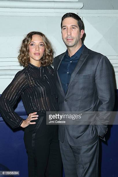 Zoe Buckman and Actor David Schwimmer attends the Opening of Broadway's AllStar 'The Front Page' at the Broadhurst Theatre on October 20 2016 in New...