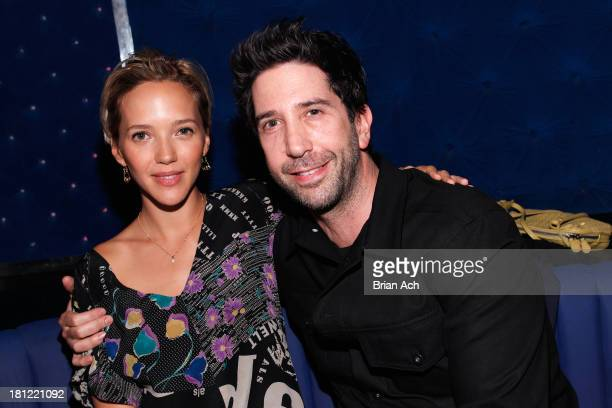 Zoe Buckman and David Schwimmer attend Global superstar Pharrell Williams performs at NY launch of YPlan tonight's going out app at FINALE on...