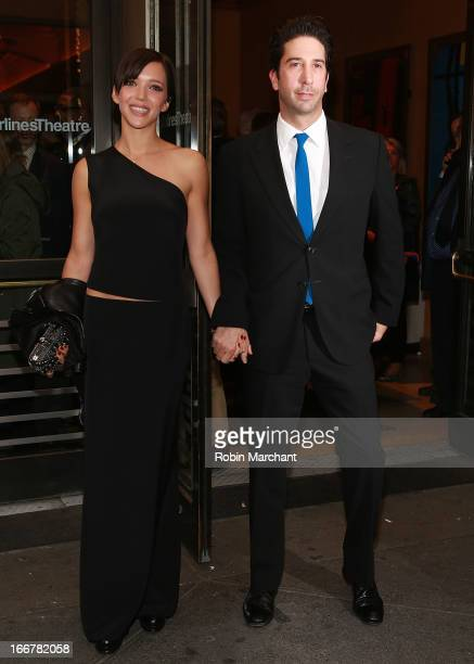 Zoe Buckman and David Schwimmer attend 'The Big Knife' Broadway opening night at American Airlines Theatre on April 16 2013 in New York City