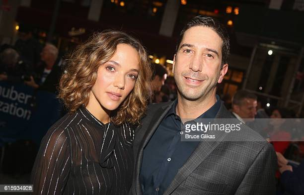 Zoe Buckman and husband David Schwimmer pose at the opening night of The Front Page on Broadway at The Broadhurst Theatre on October 20 2016 in New...