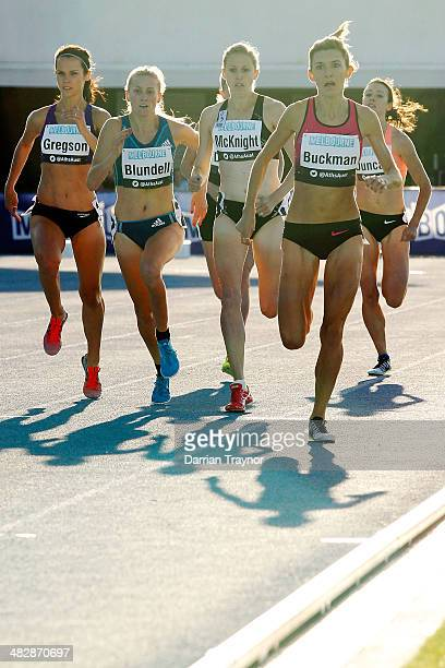 Zoe Buckman leads the field into the home straight of the womens 1500m final during the 92nd Australian Athletics Championships at Olympic Park on...